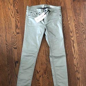 Rag and Bone gold oil cloth skinny jeans - NWT